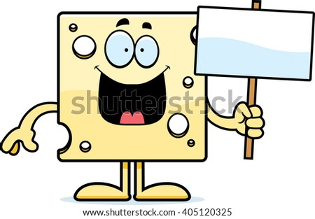 A cartoon illustration of a slice of Swiss cheese holding a sign.