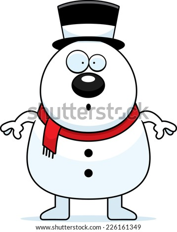 A cartoon illustration of a snowman looking surprised.