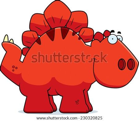 A cartoon illustration of a Stegosaurus dinosaur smiling. - stock vector