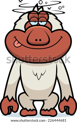 A cartoon illustration of a stupid Japanese macaque.