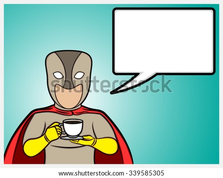 A cartoon illustration of a superhero talking and holding a coffee cup
