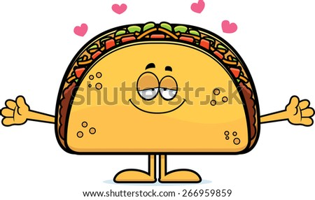 A cartoon illustration of a taco ready to give a hug. - stock vector