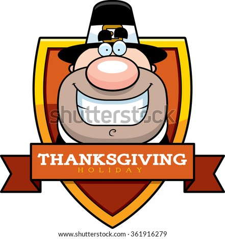 A cartoon illustration of a Thanksgiving graphic with a Pilgrim. - stock vector