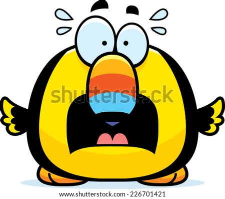 A cartoon illustration of a toucan looking scared. - stock vector