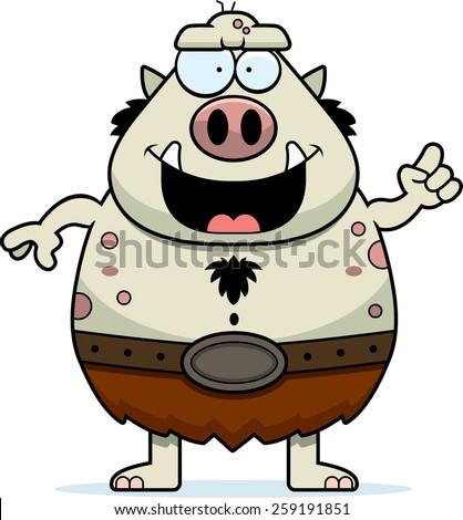 A cartoon illustration of a troll with an idea. - stock vector