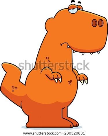 A cartoon illustration of a Tyrannosaurus Rex dinosaur looking sad. - stock vector