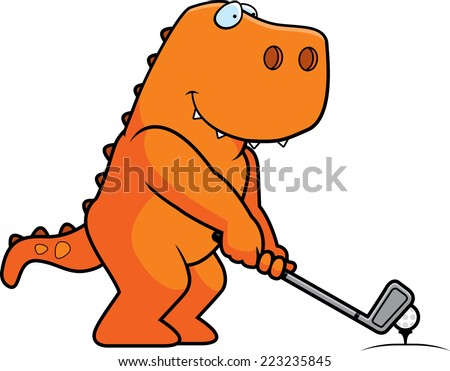 A cartoon illustration of a Tyrannosaurus Rex playing golf. - stock vector