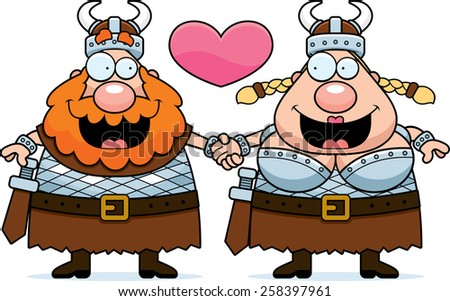 A cartoon illustration of a Viking couple holding hands and in love. - stock vector