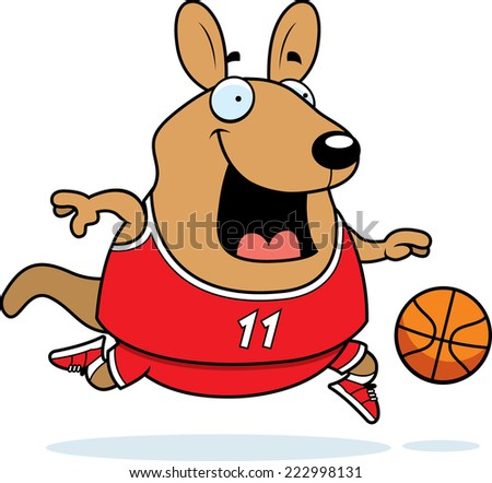 A cartoon illustration of a wallaby playing basketball.