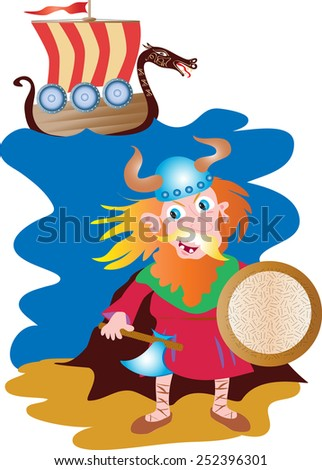 A cartoon illustration of a wild red haired viking with axe, shield and pointed antler helmet. A longship with decorated dragon head, shields and a red striped sail - stock vector