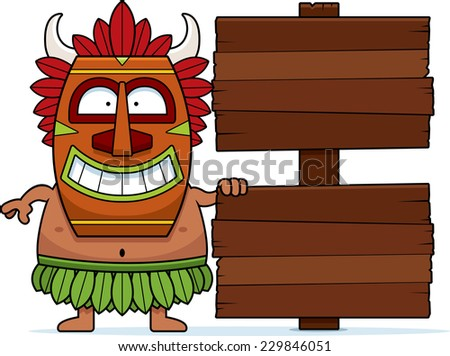 A cartoon illustration of a witch doctor with a wooden sign.