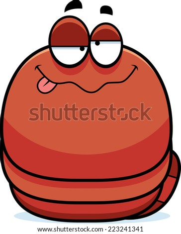 A cartoon illustration of a worm looking drunk. - stock vector