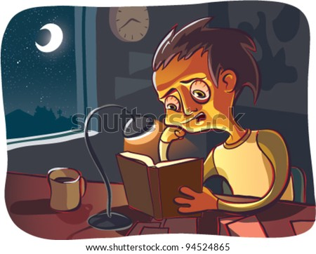 A cartoon illustration of a young male college student staying up all night to cram for his test tomorrow. He's in a dark moonlit room with a reading lamp illuminating his book and face. CMYK vector.