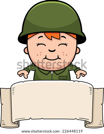 A cartoon illustration of an army soldier boy with a banner. - stock vector