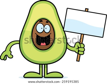 A cartoon illustration of an avocado holding a sign.