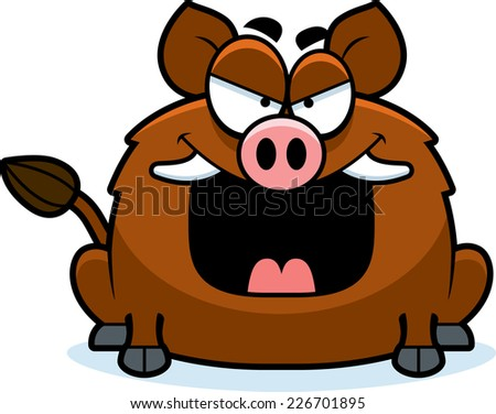 A cartoon illustration of an evil looking boar. - stock vector