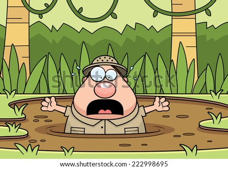 A cartoon illustration of an explorer trapped in quicksand. - stock vector