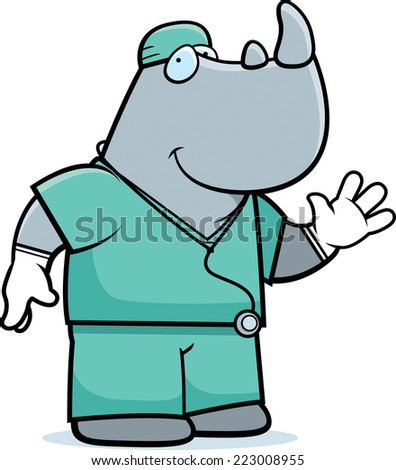 A cartoon illustration of an rhino doctor in scrubs.