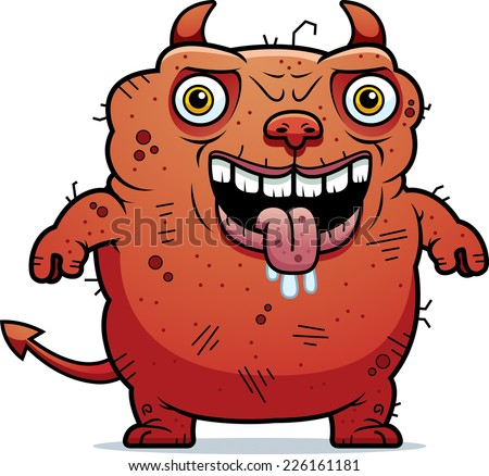 A cartoon illustration of an ugly devil standing.