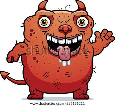 A cartoon illustration of an ugly devil waving.