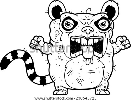 A cartoon illustration of an ugly lemur looking angry.