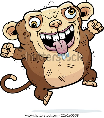 A cartoon illustration of an ugly monkey looking crazy. - stock vector