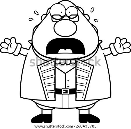 A cartoon illustration of Ben Franklin looking scared. - stock vector