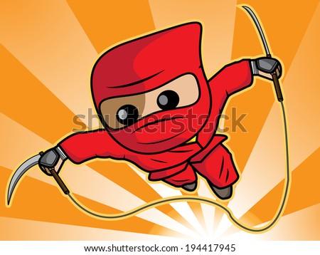a cartoon illustration of ninja attack  - stock vector