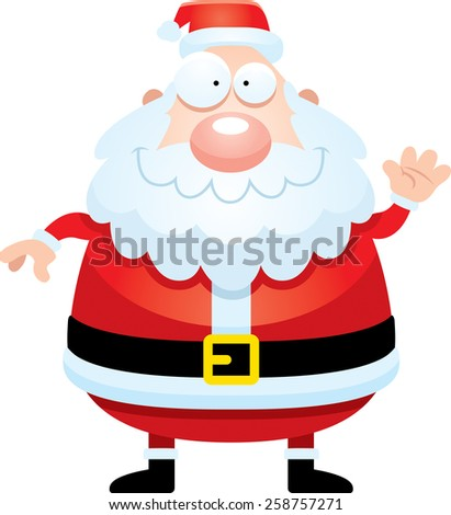 A cartoon illustration of Santa Claus waving. - stock vector