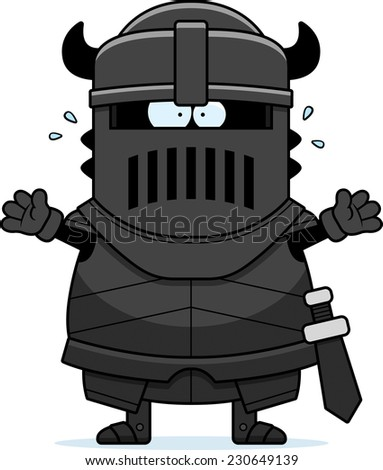 A cartoon illustration of the black knight looking scared.