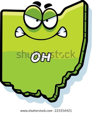 A cartoon illustration of the state of Ohio looking angry. - stock vector