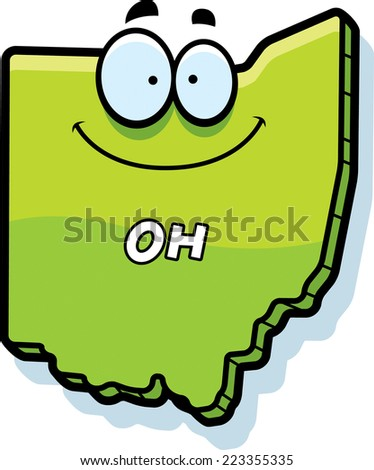 A cartoon illustration of the state of Ohio smiling. - stock vector