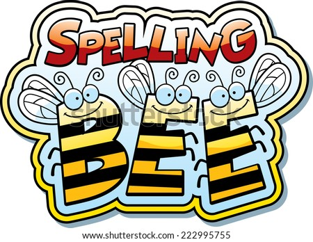 A cartoon illustration of the word buzz with a bee theme. - stock vector