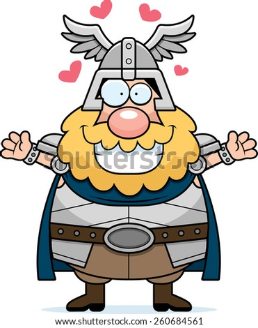 A cartoon illustration of Thor ready to give a hug. - stock vector