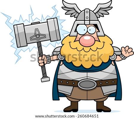 A cartoon illustration of Thor waving. - stock vector