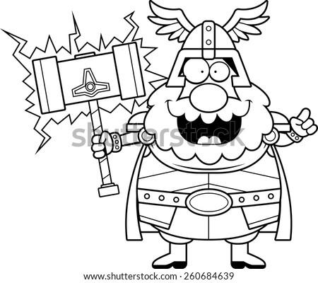 A cartoon illustration of Thor with an idea. - stock vector