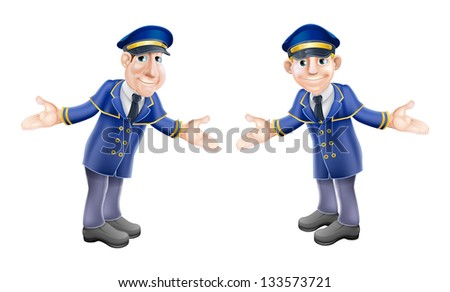 A cartoon illustration of two welcoming hotel or venue doormen or bellhops in their blue and gold uniforms - stock vector