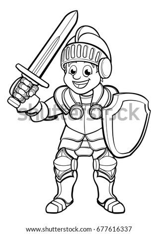 Cartoon Knight Boy His Suit Armour 677616337