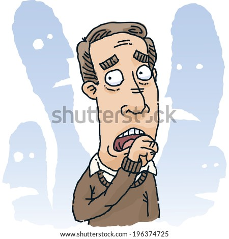 A cartoon man is fearful of those around him. - stock vector