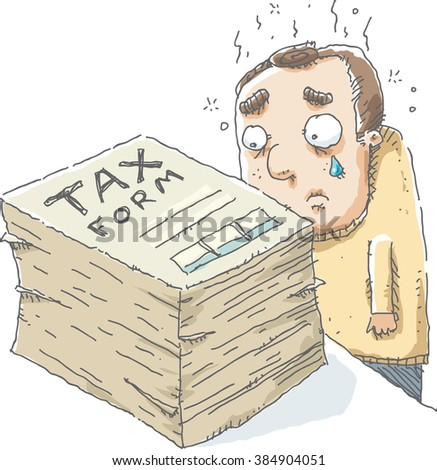 A cartoon man is sad as he looks at the large size of the tax form he has to complete. - stock vector