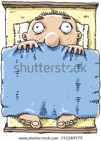 A cartoon man lies awake in bed with insomnia. - stock vector