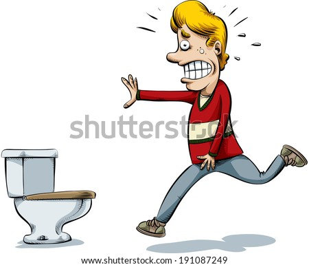 A cartoon man runs to to the toilet to pee.