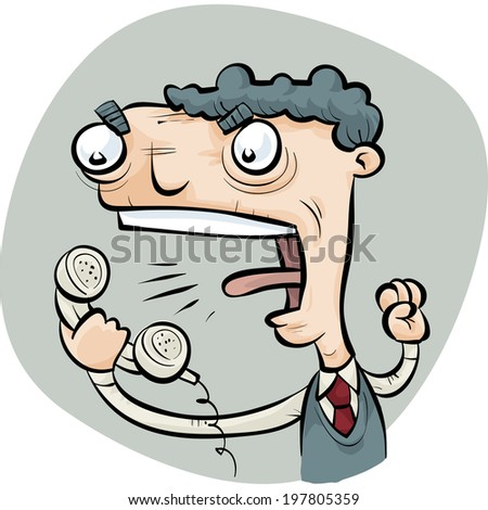A cartoon man yells into his telephone landline. - stock vector
