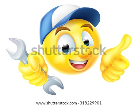 A cartoon mechanic or plumber emoticon emoji holding a spanner and giving a thumbs up - stock vector