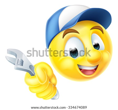 A cartoon mechanic or plumber emoticon emoji holding a spanner or wrench and wearing a cap - stock vector