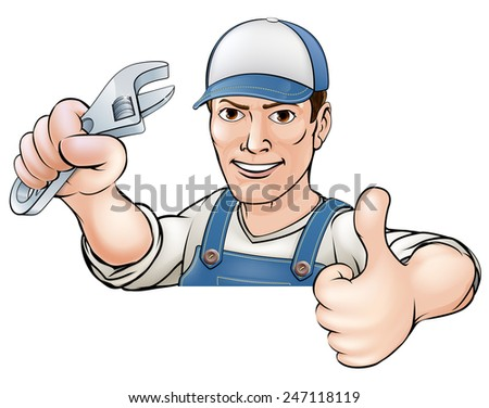 A cartoon mechanic or plumber giving a thumbs up  - stock vector