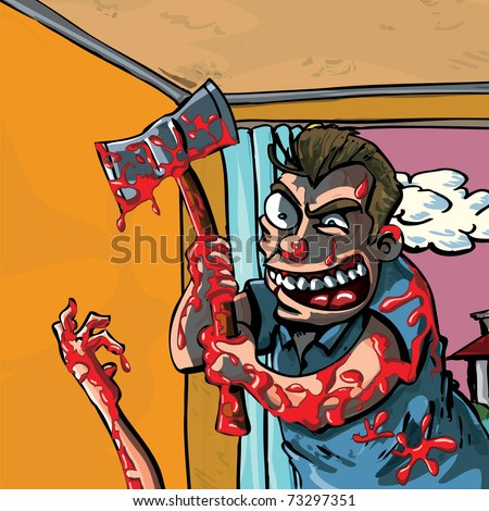 A cartoon of a axe murderer going about his bloody business