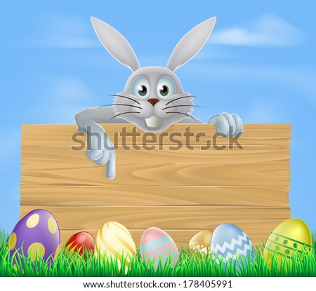 A cartoon of the Easter bunny and wooden sign with Easter chocolate eggs