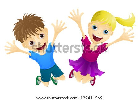 A cartoon of two happy children, a boy and girl, jumping for joy - stock vector
