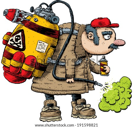 A cartoon pest exterminator spraying with toxic, green pesticide.
